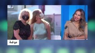 صورة من شاشة فرانس 24 - كمامات مطرزة في مهرجان البندقية