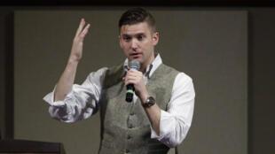Le leader de l'alt-right et nationaliste blanc Richard Spencer lors d'une conférence à l'université au Texas.