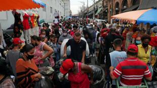 Brazil busy shopping street Sao Paulo