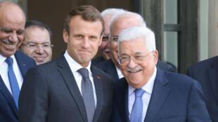 Le président de l'Autorité palestinienne, Mahmoud Abbas, à l'issue de sa rencontre avec Emmanuel Macron, à l'Élysée, le 21 septembre.