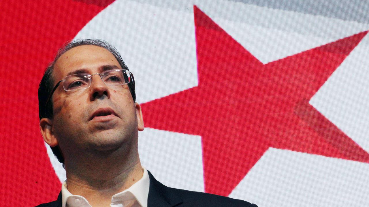 Le Premier ministre tunisien et président du parti politique Tahya Tunis, Youssef Chahed, a annoncé sa candidature à la présidentielle, à Tunis, le 8 août 2019.