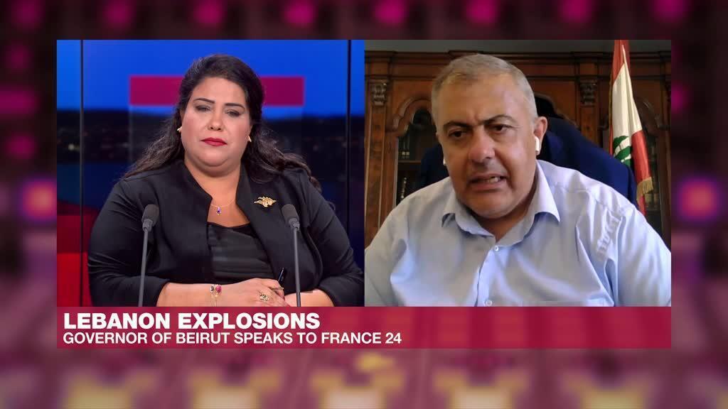 The governor of Beirut Marwan Abboud, interviewed by F24 Arabic journalist Mirna Jammal.