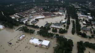 Flooded homes are shown near Lake Houston following Hurricane Harvey on August 30, 2017; Houston, Texas.