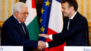 El presidente de la Autoridad Palestina, Mahmud Abás, dio una rueda de prensa con el presidente francés Emmanuel Macron, el 22 de diciembre del 2017.