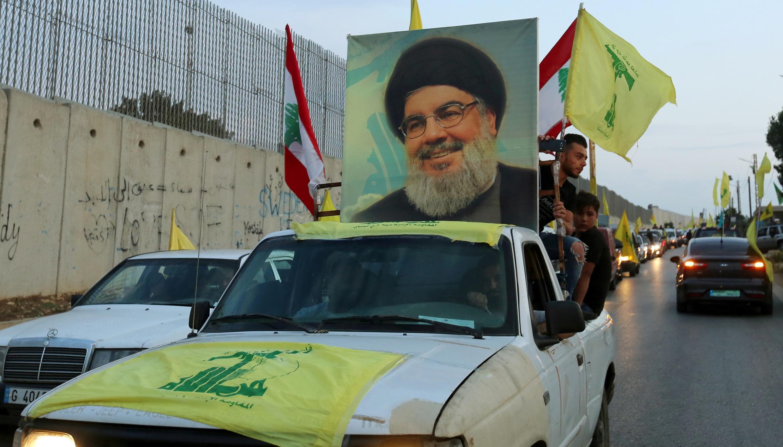 موكب من أنصار حزب الله اللبناني وزعيمه حسن نصر الله في جنوب لبنان. 25/10/2020