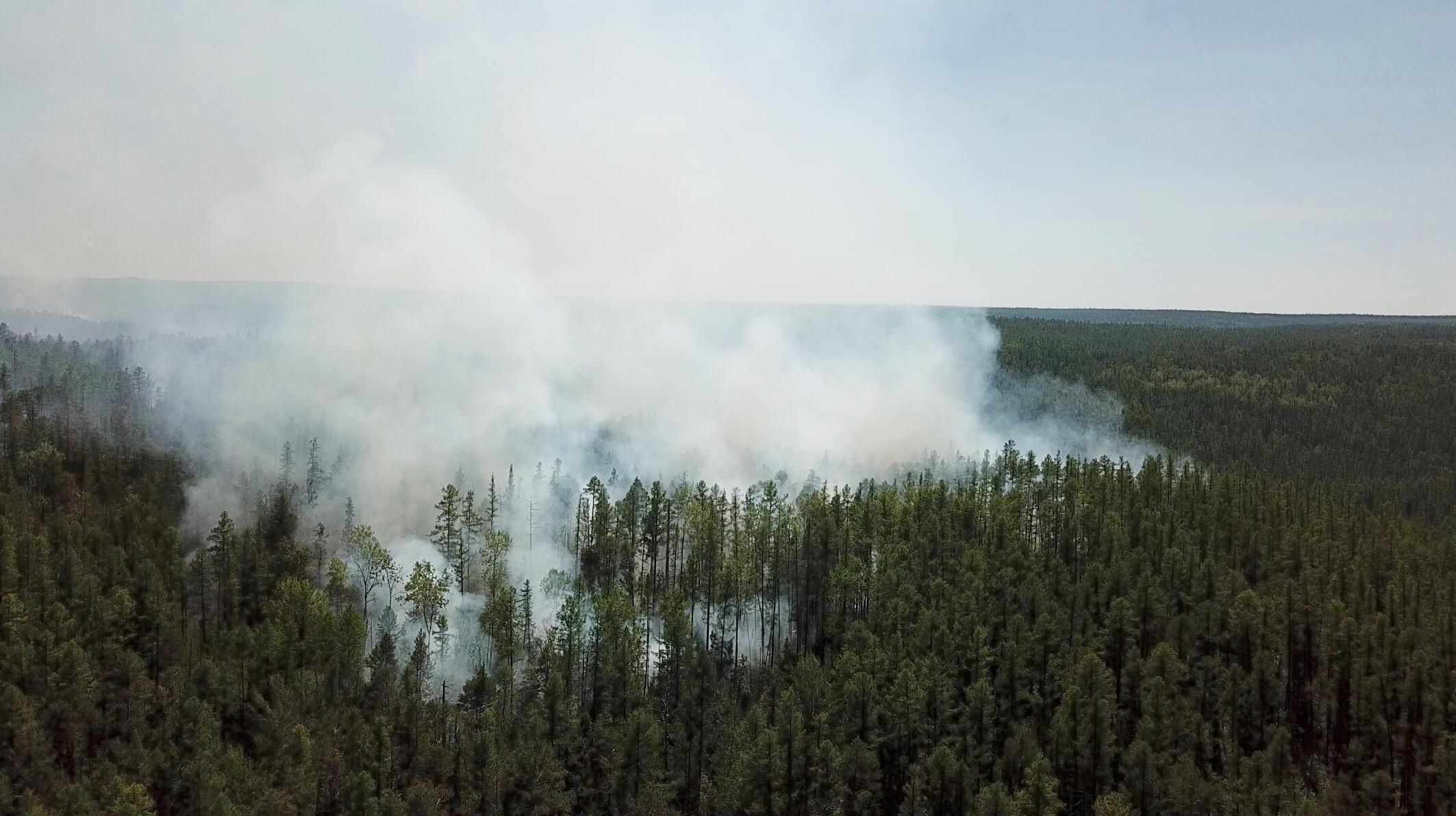 Vista aérea de los incendios en la región rusa de Krasnoyarsk el 10 de julio de 2020.