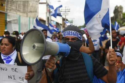 Un grupo de manifestantes reclaman contra el Gobierno de Daniel Ortega en Masaya, Nicaragua, el 29 de junio de 2018.