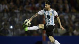 L'Argentin Lionel Messi, au stade La Bombonera de Buenos Aires, le 29 mai 2018.