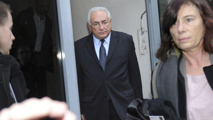 Former IMF chief Dominique Strauss-Kahn leaves his hotel on February 11, 2015, in Lille, northern France, to attend his trial