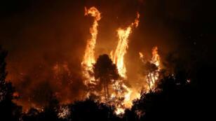 حرائق بقرية ماكيرمالي  في جزيرة إيفيا اليونانية. 13 آب/أغسطس 2019.