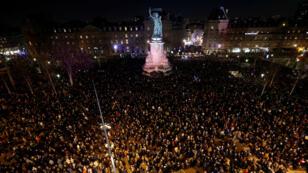 تجمع بساحة الجمهورية في باريس ضد معاداة السامية 19 فبراير/شباط 2019