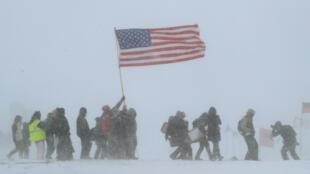 Mouvement de protestation contre le tracé de l'oléoduc le 5 décembre 2016 à Cannon Ball, dans le Dakota du Nord.