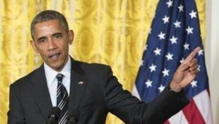 - أوباما خلال مؤتمر صحفي في البيت الأبيض