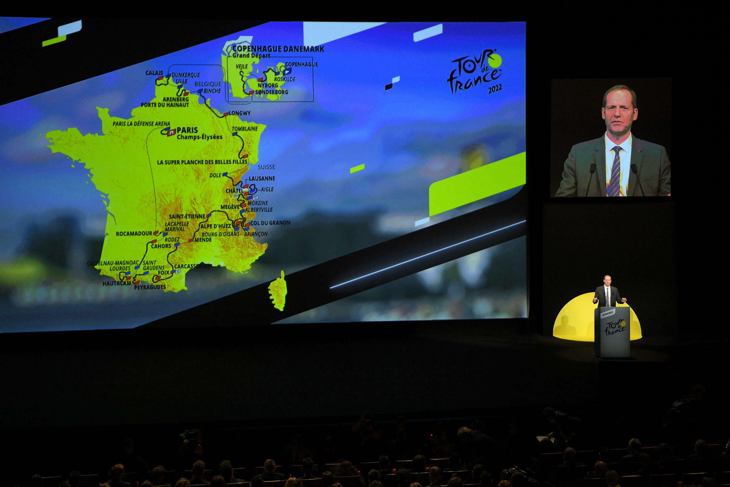 Tour de France director Christian Prudhomme speaks during the official presentation of the 2022 edition, on October 14, 2021 in Paris
