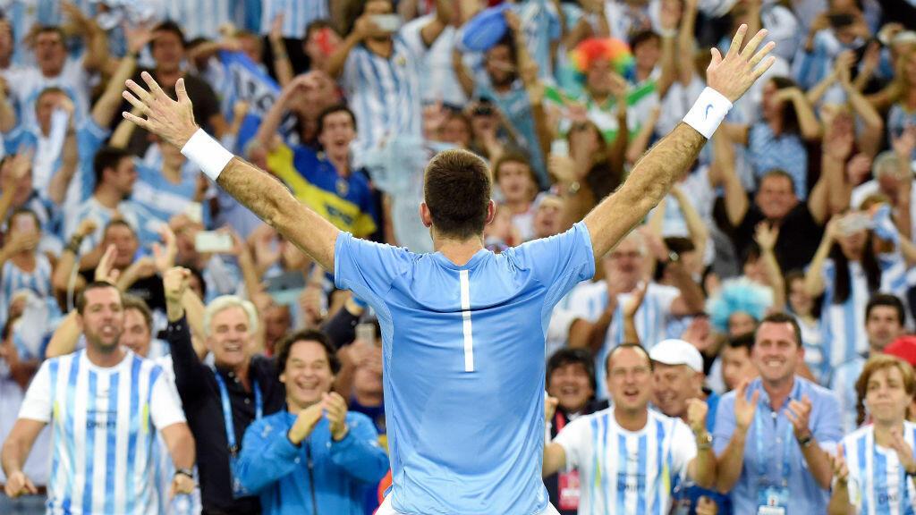 Juan Martin Del Potro célèbre sa victoire en Coupe Davis devant les supporters argentins.