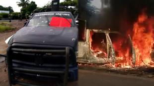 Una patrulla de la policía estatal fue emboscada por un grupo armado en Aguililla, estado Michoacán, México, el 14 de octubre de 2019.