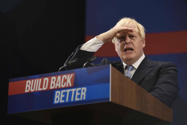 Boris Johnson lors de son intervention au congrès annuel du Parti conservateur, à Manchester, le 6 octobre 2021