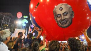 Des dizaines de milliers d'Israéliens se sont rassemblés, le 7 mars 2015 à Tel Aviv, pour dénoncer la politique de Benjamin Netanyahou.