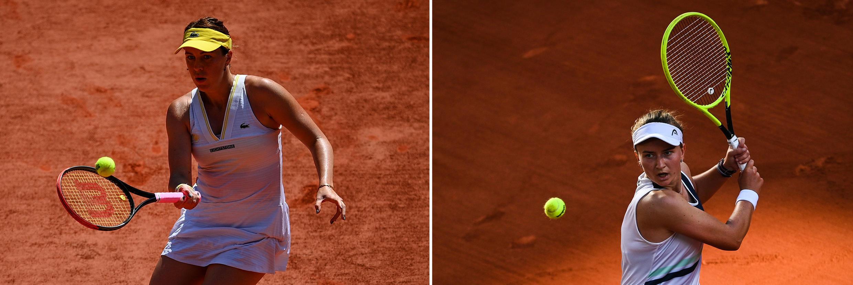 La rusa Anastasia Pavlyuchenkova (izq) y la checa Barbora Krejcikova, finalistas del torneo femenino de Roland Garros 2021