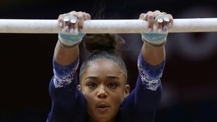 La Française Mélanie de Jesus dos Santos lors des Mondiaux de gymnastique artistique, le 28 octobre 2018 à Doha