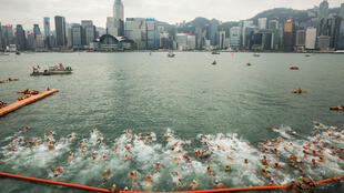 Swimmers take part in the annual race across Victoria Harbour in 2018. This year's event has been cancelled due to the coronavirus pandemic