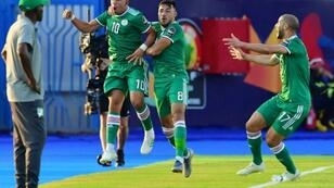 Midfielder Sofiane Feghouli (2nd-L) celebrates scoring for Algeria as Ivory Coast coach Ibrahim Kamara (L) looks on during an Africa Cup of Nations quarter-final in Egypt