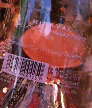 "Miraval rosé wine, apparently ""bottled by Jolie-Pitt""."