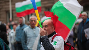 One of the demonstrators outside the parliament building in Sofia on Friday