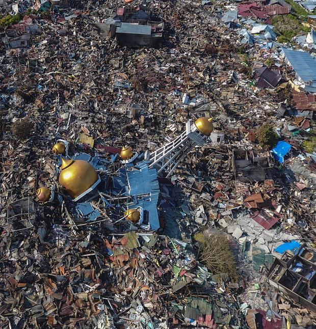 Vista aérea de un área devastada por un terremoto en Palu, Sulawesi Central, Indonesia 1 de octubre de 2018.