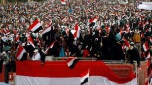 مظاهرة مؤيدة للحوثيين وللرئيس السابق علي عبد الله صالح في صنعاء في 26 آذار/مارس 2017