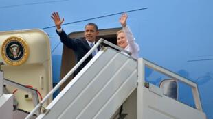 Barack Obama avec Hillary Clinton, alors secrétaire d'État, le 19 novembre 2012.