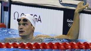 Yannick Agnel à l'issue de sa série sur le 200 m nage libre, le 7 août 2016 à Rio.