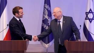 الرئيس الفرنسي مع نظيره الإسرائيلي. 22/01/2020