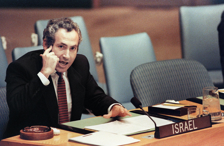 Le ministre israélien des Affaires étrangères Benjamin Netanyahu accuse le Liban et la Syrie de troubles au Moyen-Orient lors de déclarations au Conseil de sécurité des Nations Unies ici le 22 septembre 1986.