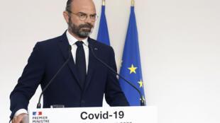 Le Premier ministre Édouard Philippe s'exprime sur la stratégie de déconfinement, le 19 avril 2020 depuis l'hôtel Matignon