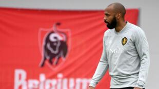 Thierry Henry lors d'un entraînement avec l'équipe de Belgique, durant le mondial en Russie.
