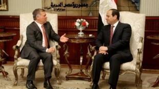 صورة نشرها الديوان الملكي الأردني للعاهل عبدالله الثاني (يسار) مستقبلا الرئيس المصري عبد الفتاح السيسي في القاهرة في 21 شباط/فبراير 2017