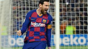 La joie de l'attaquant du FC Barcelone, l'Argentin Lionel Messi, après avoir marqué contre la Real Sociedad, lors du match de LaLiga, le 7 mars 2020 au Camp Nou