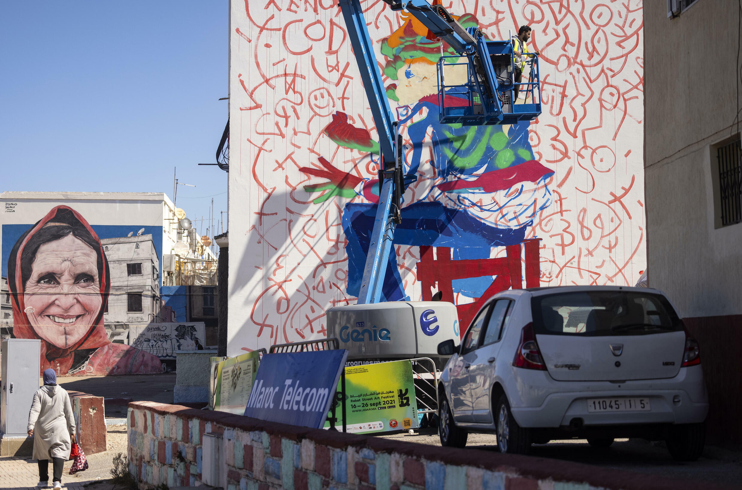 Lhamzi used the side of a house in the working-class district of Yaacoub Al Mansour for his latest work