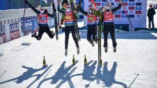 La joie des Norvégiennes sacrées championnes du monde en relais, le 20 février 2021 à Pokljuka en Slovénie