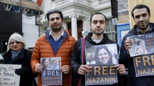 Des Iraniens appelant à la libération de Nazanin Zaghari-Ratcliffe, le 21 février 2018, à Londres.