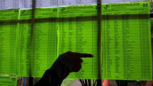 Las listas de votación para las elecciones municipales se ven en una mesa electoral en Managua, Nicaragua. 11/5/ 2017