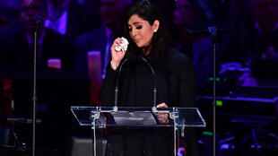 Vanessa Bryant wipes away tears as she speaks during a memorial service for her late husband, NBA legend Kobe Bryant, in February 2020