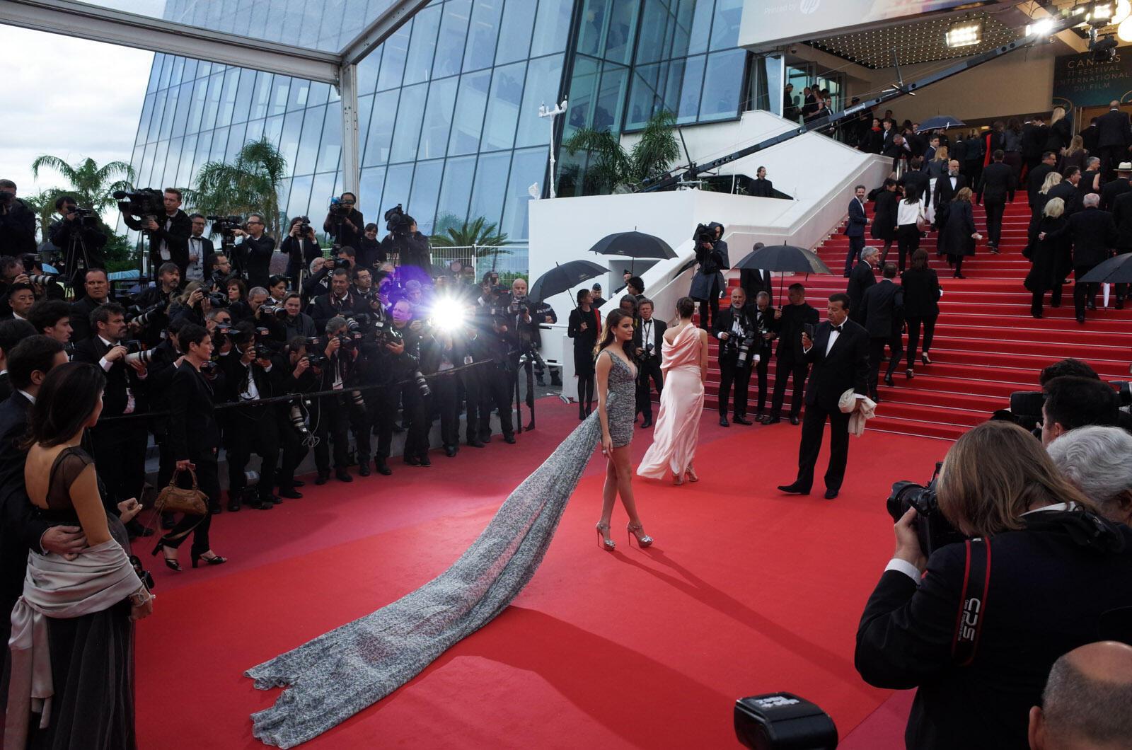 الممثلة التونسية الفرنسية صونيا بن عمار على البساط الأحمر.