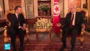 رئيس مجلس النواب التونسي محمد الناصر والرئيس الفرنسي إيمانويل ماكرون