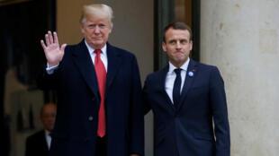 Emmanuel Macron et Donald Trump à la veille des commémorations du 11 Novembre à Paris, le 10 novembre 2018.