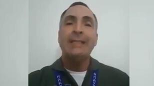 Captura de pantalla de un video publicado en Twitter en el que el general de la fuerza aérea de Venezuela, Francisco Yáñez, negó su apoyo al presidente Nicolás Maduro, el 2 de febrero de 2019.