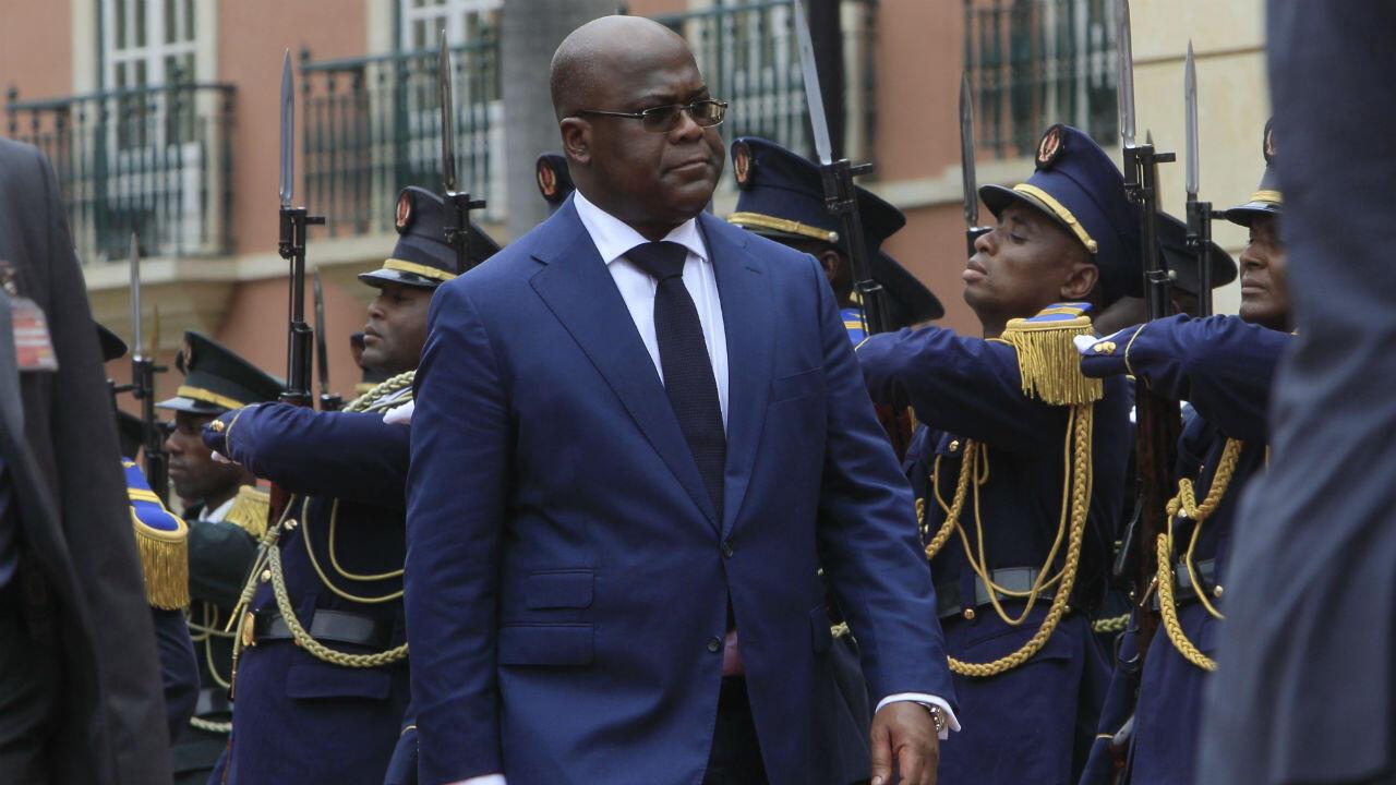 Le président de la République démocratique du Congo, Félix Tshisekedi, lors d'une visite officielle à Luanda, le 5 février 2019.