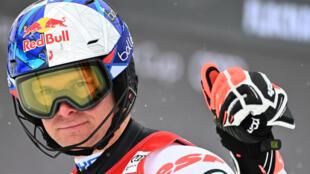 Le Français Alexis Pinturault, à l'arrivée de la 2e manche du slalom de Coupe du monde, le 17 janvier 2021 à Flachau (Autriche)