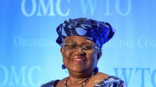 La Nigériane Ngozi Okonjo-Iweala lors d'une audition à l'OMC, le 15 juillet 2020 à Genève